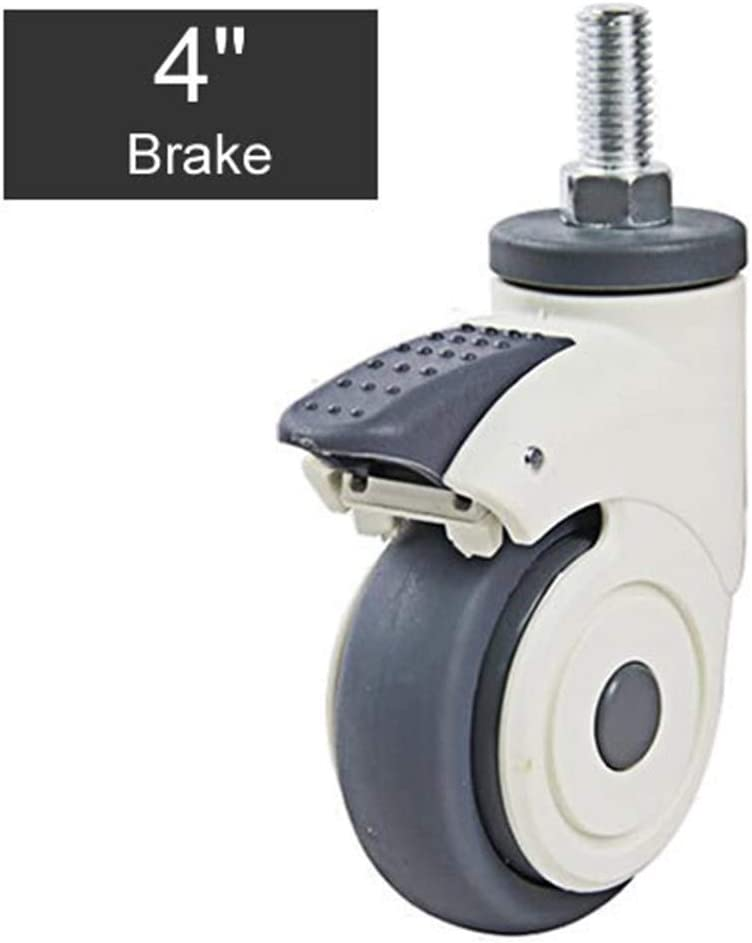 Rueda giratoria Médico de plástico llena de silencio Ruedas/Llantas M12x25 Tornillo de rueda TPR Silencio usable for el Hospital de la carretilla Electronic Equipment (Color : 4 inch Brakex2)
