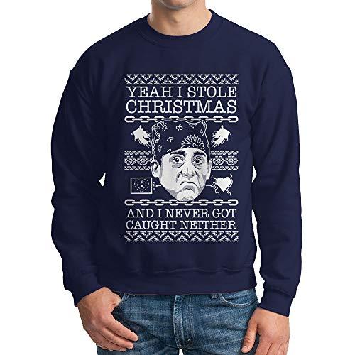 HAASE UNLIMITED Unisex Yeah I Stole Christmas and I Never Got Caught Neither Crewneck Sweatshirt (Navy, XX-Large)