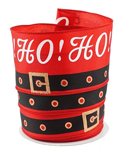 Santa Belt Ho Ho Ho Christmas Satin Wired Ribbon #40-2.5