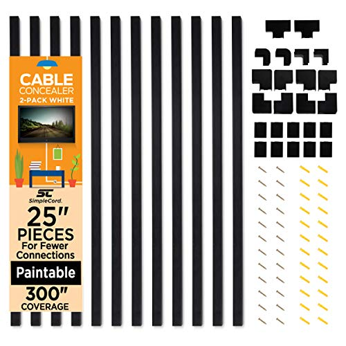 Cable Concealer On-Wall Cord Cover Raceway Kit - 12