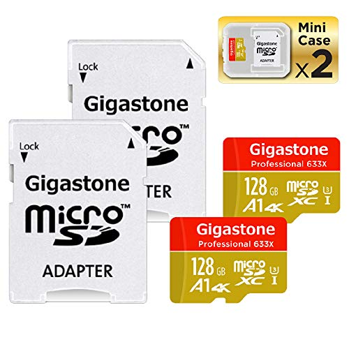 Gigastone Micro SD Card 128GB 2-Pack 4K Ultra HD, Micro SDXC U3 C10 with Mini Case and MicroSD to SD Adapter High Speed Memory Card Class 10 UHS-I Nintendo Gopro Camera Samsung Canon Nikon DJI Drone