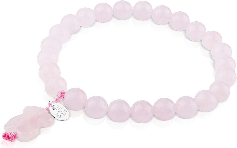 TOUS Pulsera ajustable de mujer de cuarzo rosa y placa de plata de primera ley, Diámetro 16 cm.