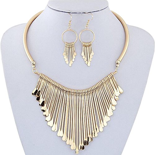 Necklace, Hatop Luxury Womens Metal Tassels Pendant Chain Bib Necklace Earrings Jewelry Set (Gold) ()