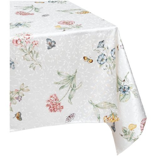 Blue Flower Plain Dinnerware (Lenox Butterfly Meadow 60-by-120-Inch Tablecloth)