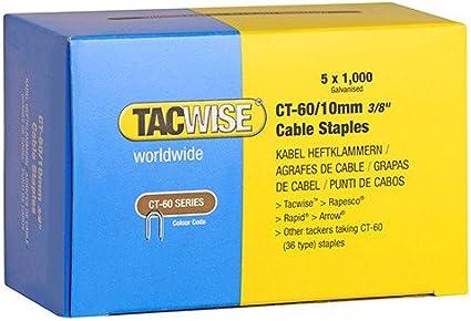 """Galv 0354 36 TIPO 3//8 /"""" del wire del cavo Tacker punti metallici 5000 x 10 mm TACWISE CT60"""