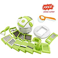 VM Product 15 in 1 Vegetable and Fruit Cutter Chopper, Dicer, Grater, Slicer with Airtight Unbreakable Container (Green) with Pizza Cutter Free