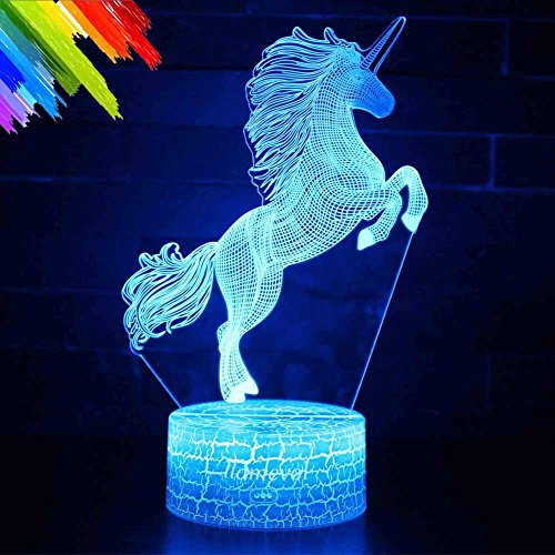 Unicorn Gift Kids Night Light for Christmas 3D Night Light Horse Gifts Led Illusion Lamps Birthday Gifts for Girls Home Decor Office Bedroom Party Decorations 7 Color Crackle White Base ()