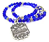 Chubby Chico Charms Babcia Victorian Scroll Bicone Crystal Wrap Bracelet in Sapphire Blue