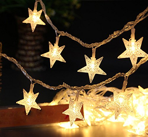 Greensen Battery Operated String Lights 40 LED Star Shaped Tent Light 19.7 ft Fairy Light for Indoor Decoration (Hanging Operated Battery Lights)