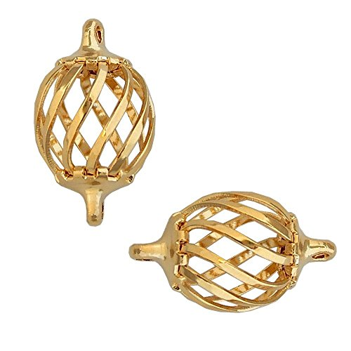 (BEAD CAGE OVAL LINK CONNECTOR CHARM 15mm or 12mm GOLD or SILVER PLATED 10 pack (Gold Plated 15mm))