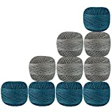 Set of 10 Pcs Gray Turquoise Cotton Crochet Thread Cross Stitch Knitting Yarn Tatting Doilies Skeins Lacey Craft