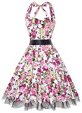 OTEN Women's Vintage Polka Dot Halter Dress 1950s Floral Sping Retro Rockabilly Cocktail Swing Tea Dresses (Small, Pink Floral)