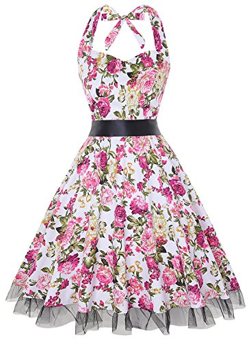 OTEN Women's Vintage Polka Dot Halter Dress 1950s Floral Sping Retro Rockabilly Cocktail Swing Tea Dresses (Medium, Pink (Polka Dot Cocktail Dresses)