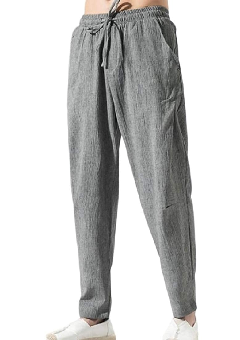 MOUTEN Mens Baggy Stylish Chinese Style Linen Elastic Waist Harem Long Pants