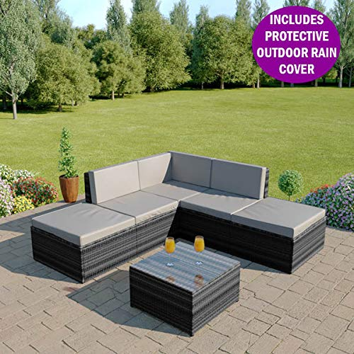 Rattan Corner Sofa Abreo: Modular Furniture: Amazon.co.uk
