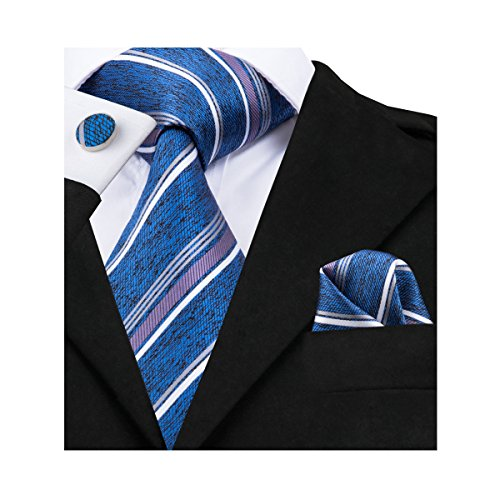 Blue Stripe Necktie (Barry.Wang Blue Ties Striped Silk Tie Set Hanky Cufflinks)