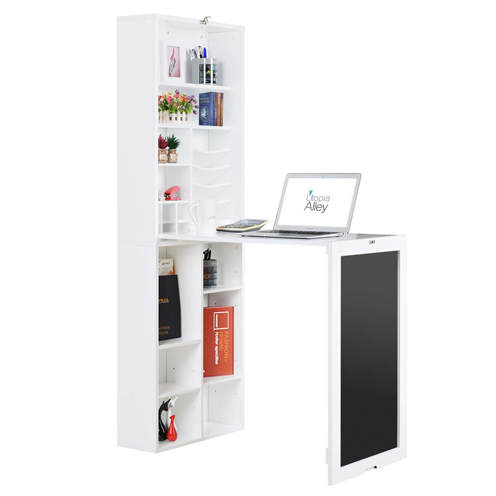 Utopia Alley Collapsible Fold Down Desk Table/Wall Cabinet with Chalkboard and Bottom Shelf, White by Utopia Alley