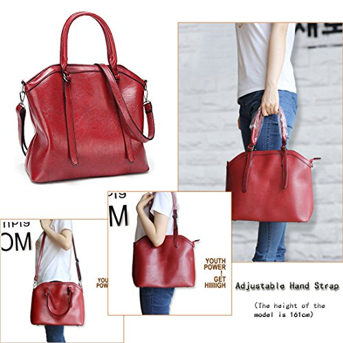Shoulder Leather body PU Women Big Brown Cross Tote Mynos Top Bag Purse Capacity Handle Bag Uq7ZpF