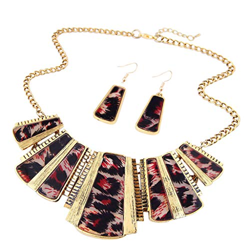 sameno 2018 Fashion New Girl Women Mixed Style Bohemia Leopard Bib Chain Necklace+Earrings Jewelry (Red)