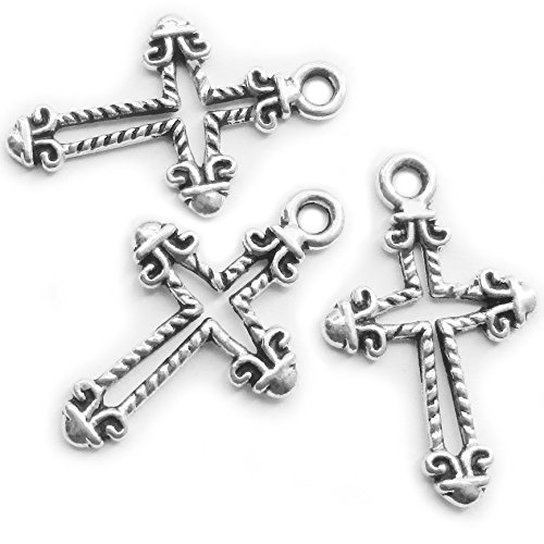 - Heather's cf 96 Pieces Silver Tone Pattern Hollow Cross Pendant Beads DIY Religious Cross Charm Bead Findings 26X16mm