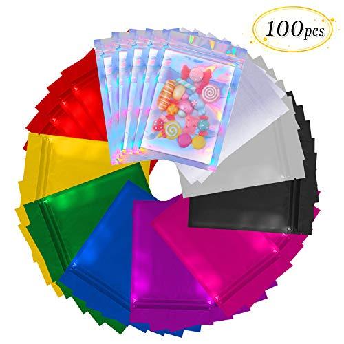 (Mylar Zip Lock Bags Aluminum Foil Pouches Flat Metallic Mylar Foil Flat ZipLock Food Storage Bags Pouch 100 Pieces (Multicolor))