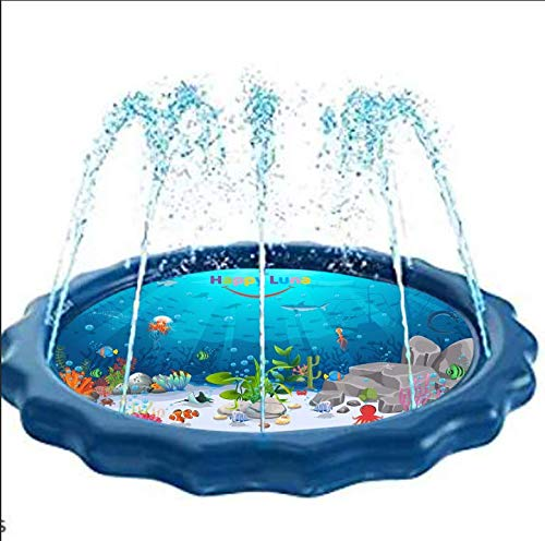 Happy Luna Sprinkler Mat for Kids - Inflatable Pool for Outdoor Games, Wading and Learning - Kiddie Splash Pad Toys for Play and Fun Activity - Best Birthday Gifts for Baby and Toddler Girls and Boys