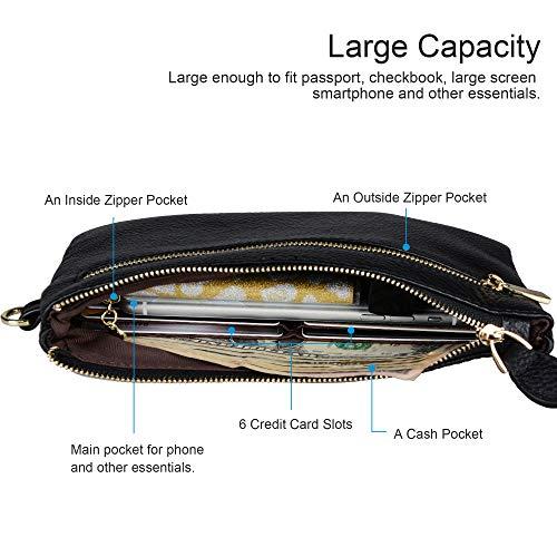 Befen Women Genuine Leather Clutch Wallet, Smartphone Wristlet Purse - Black by befen (Image #1)