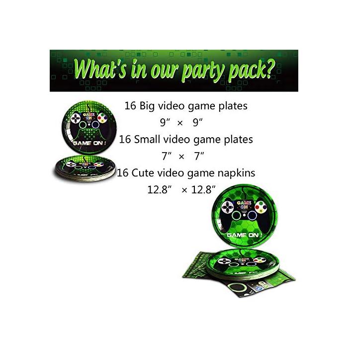51ZzpMHtWQL Perfecto para la fiesta de cumpleaños, baby shower, fiesta temática de videojuegos y todos los días. Ahorra tiempo y energía en la limpieza después de la fiesta. GRAN DISEÑO -- El juego de vajilla de juegos de colores hará que tu fiesta sea memorable. Usamos muchos íconos en nuestros platos y servilletas para expresar el tema del videojuego. CONTENIDO DEL PAQUETE -- El paquete incluye: 16 platos grandes para juegos, 16 platos pequeños para juegos, 16 servilletas para juegos.