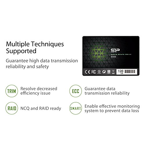 Silicon Power 120GB SSD 3D NAND with R/W up to 560/530MB/s S56 SLC Cache Performance Boost SATA III 2.5'' 7mm (0.28'') Internal Solid State Drive (SP120GBSS3S56B25AZ) by Silicon Power (Image #6)