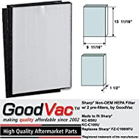 Sharp Non-OEM HEPA Air Purifier Filter w/ 2 Pre-Filters for FZ-C100HFU KC-850U by GoodVac