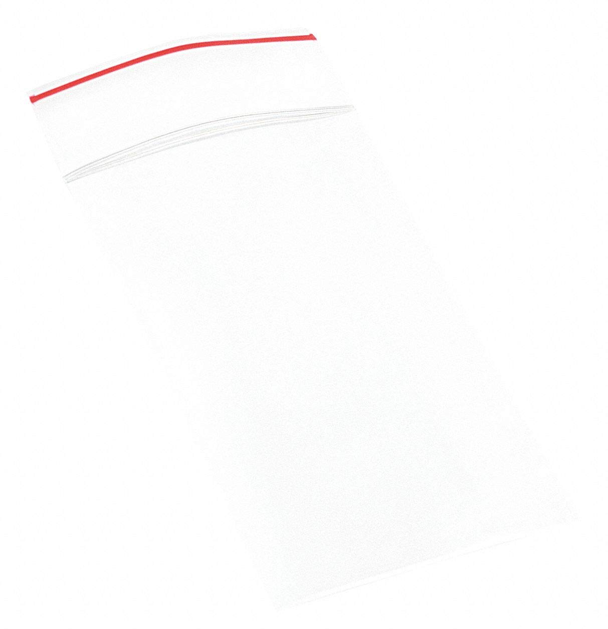 Minigrip Red Line MGRL2P0203 Polyethylene (LDPE/LLDPE Blend) Clear Reclosable Bag, 3'' Length, 2'' Width (Pack of 1000) by Minigrip Red Line