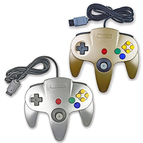 Pomilan Classic Retro Wired Controllers For N64 (Gold and Silver)