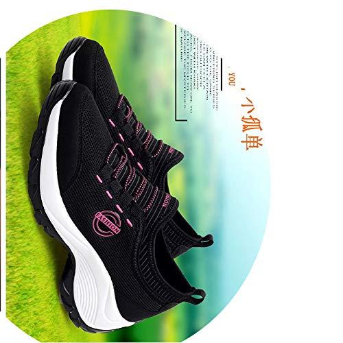 casual sho Otoño E Invierno Aumentaron Los Conjuntos De Zapatos De Madre De Pie, Zapatos Perezosos, Zapatillas Deportivas De Deporte, Cómodos Zapatos De Balancín Rosa negro