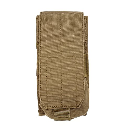 Single M16 (OUTRY M4 M16 AR-15 Type Magazine Pouch Mag Holder - Triple/Double / Single Airsoft MOLLE Mag Pouch - Velcro Closed Flap Version - Single - Tan/Coyote Brown)