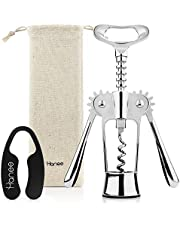 Hanee Premium Wing Corkscrew (Silver & Rose Gold) with Linen Pouch | All-In-One Wine & Beer Bottle Opener | Wine Accessories | Stainless Steel
