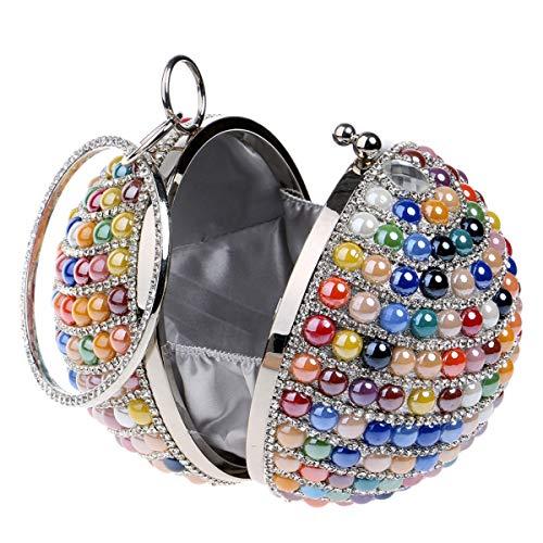 D'embrayage Soirée À Glitter Multicolore Dames Perlée Strass Ronde Boule Sac Femmes Mariage Vanvseor Perle De Nuptiale Main Bal wPqx4XF6