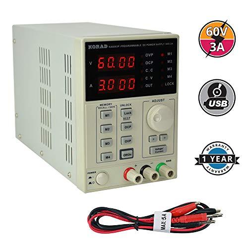 KORAD KA6003P - Programmable Precision Variable Adjustable 60V, 3A DC Linear Power Supply Digital Regulated Lab Grade