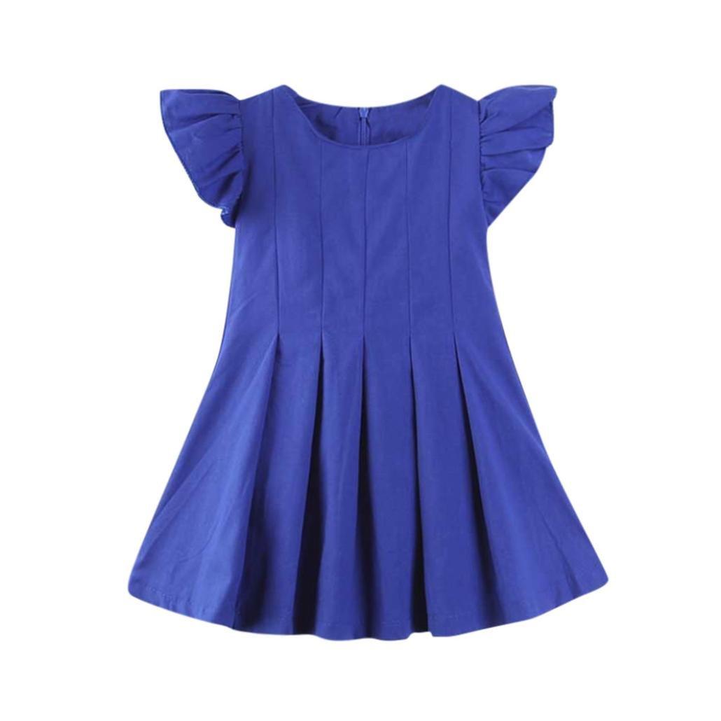 Winsummer Little Girls Denim Dress Ruffles Sleeveless Cowboy Dresses Toddler Kids Baby Girl Summer Princess Skirt (Blue,12M)