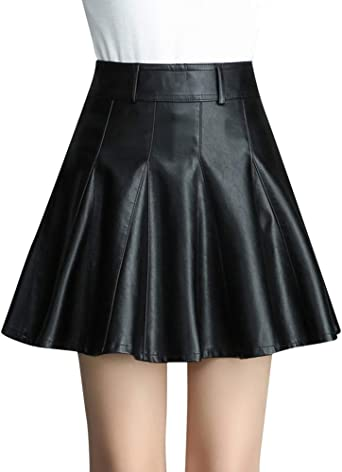 Quge Faldas para Mujeres A Línea Mini Falda Plisadas De Cuero PU ...