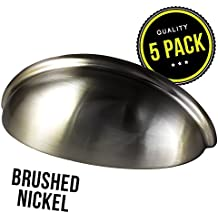 """Cabinet Hardware Bin Cup Drawer Handle Pull - 3"""" Inch (76mm) Hole Centers (5pk Satin Nickel)"""