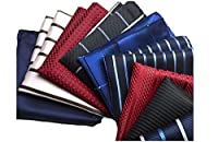 LACS Mens Classic Strips Silky Pocket Square HankieS For Suits Wedding Pack