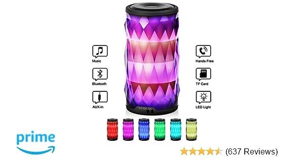 LED Bluetooth Speaker,Night Light Changing Wireless Speaker,MIANOVA Portable Wireless Bluetooth Speaker 6 Color LED ...