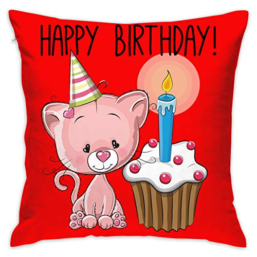Karen Felix Throw Pillow Covers Happy Birthday Pink Cat and Cake Decorative Cushion Case for Sofa Bedroom Car 18 X 18 Inch 45 X 45 cm
