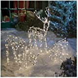 Animated 3-Piece Lighted Deer Family Christmas Yard Decoration Set, 250 Clear Lights, 40-Inch Buck & Doe and 24-Inch Baby
