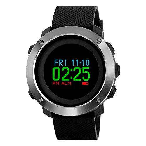 Outdoor Sports Watches Men,Womens Digital Wrist Watch,Colorful Screen Compass Pedometer Calorie Waterproof OLED Display Wristwatches