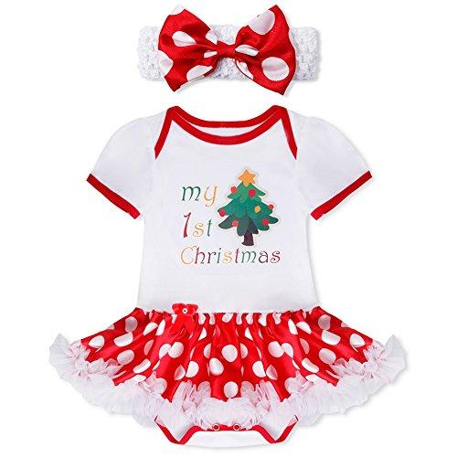 [iiniim Baby Girl My First Christmas Outfit 2Pcs Set Tutu Top Skirt +Headband Christmas Tree 0-3] (Christmas Outfits Women)