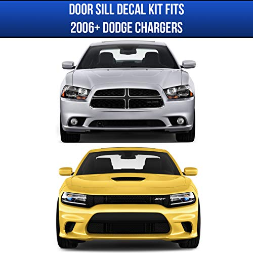 Entry Protector Vinyl Sticker No Background Scuff Plate Protection Cover for 2015 2016 2017 2018 2019 Challenger Accessories Door Sill Guard Decal compatible with Dodge Challenger