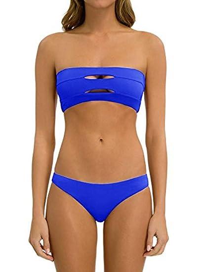 463679b281 Amazon.com  Sherrylily Womens Strapless Slit Bandeau Bikini Sets Padded  Swimsuit 2 Pieces  Clothing