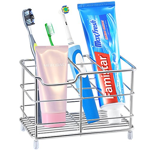 Famistar X-Large Electric Toothbrush Holder, Stainless Steel Bathroom Storage Organizer Stand Rack - Multi-functional 6 Slots for Toothbrush, Toothpaste, Cleanser, Comb