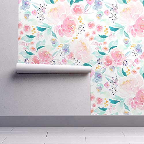 Peel-and-Stick Removable Wallpaper - Bloom Floral Bloom Pink Peach Spring Mermaid Girls Room Nursery by Indybloomdesign - 12in x 24in Woven Textured Peel-and-Stick Removable Wallpaper Test Swatch